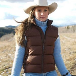 Amber Marshall TV Series Heartland Amy Fleming Brown Puffer Vest