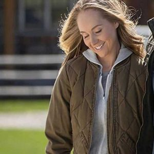 Amber Marshall TV Series Heartland Brown Quilted Amy Fleming Bomber Jacket
