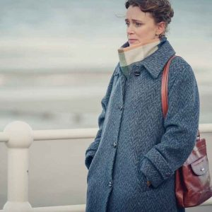 Valerie Tozer TV Series It's A Sin 2021 Keeley Hawes Blue Trench Coat