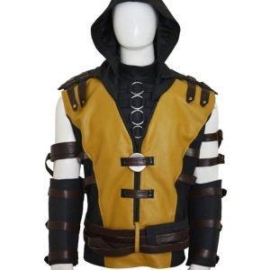 Scorpion Mortal Kombat X Hooded Black Leather Jacket