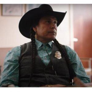 Rainwater Driver Yellowstone Season 4 Moses Bring Plenty Black Vest