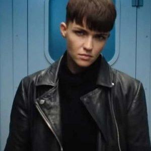 Grace Lewis SAS: Red Notice 2021 Ruby Rose Black Motorcycle Leather Jacket