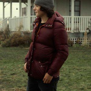 Jordan Kent Superman and Lois Alex Garfin Maroon Puffer Hooded Jacket