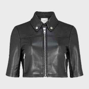 Melody Bayani The Equalizer (2021) Liza Lapira Black Cropped Leather Jacket