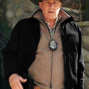 Kevin Costner Yellowstone John Dutton Black Cotton Jacket