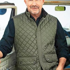 John Dutton Tv Series Yellowstone Kevin Costner Military Green Quilted Vest