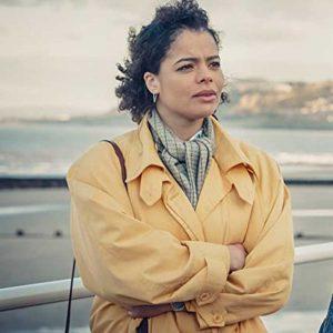 Jill Baxter TV Series It's a Sin 2021 Lydia West Yellow Cotton Coat