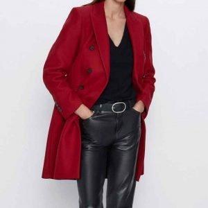 Jenny Boyd Legacies S03 Lizzie Saltzman Red Double-Breasted Coat