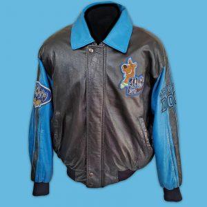 Black and Blue Scooby Doo Cartoon Bomber Leather Jacket