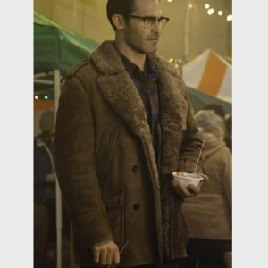 Tyler Hoechlin TV Series Superman and Lois Clark Kent Brown Shearling Leather Coat