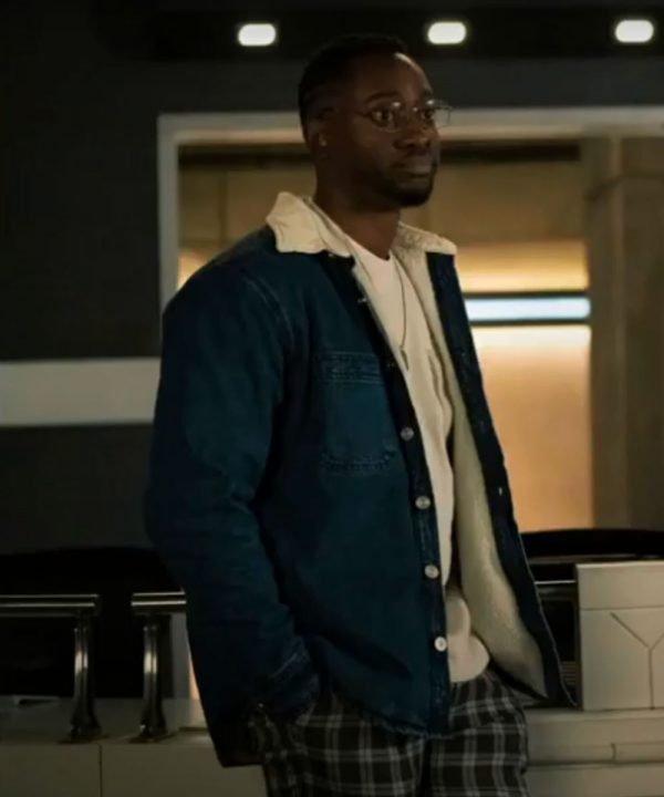 Brandon McKnight The Flash Season 07 Chester P. Runk Blue Denim Shearling Jacket