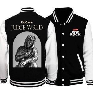 American Rapper Juice WRLD Black and White Varsity Jacket