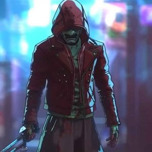 Altered Carbon Resleeved Red Motorcycle Leather Jacket With Hood