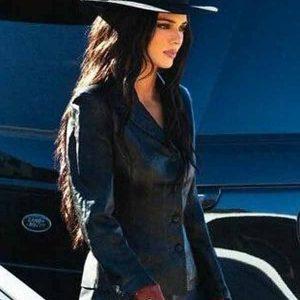 Stylish Kendall Jenner BIker Black Leather Jacket