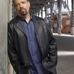 Ice-T Law and Order Special Victims Unit Odafin Tutuola Black Leather Jacket