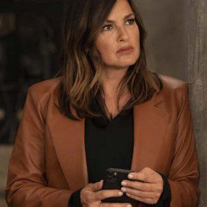 Mariska Hargitay Law & Order: Organized Crime Brown Leather Blazer