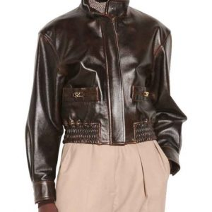 Kennedy McMann TV Series Nancy Drew S02 Brown Leather Bomber Jacket