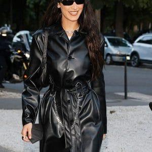 Black Leather Bella Hadid Trench Coat