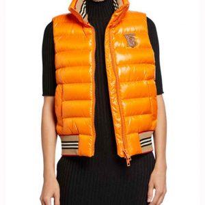 Elizabeth Gillies Dynasty S03 Orange Puffer Vest