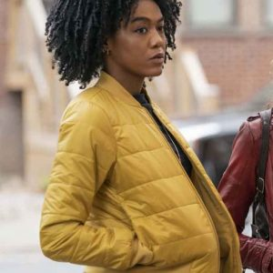 Nia Holloway The Republic of Sarah 2021 Yellow Quilted Bomber Jacket