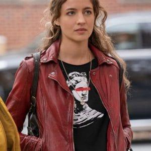 Stella Baker The Republic of Sarah Red Biker Leather Jacket