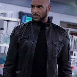 Henry Simmons Black Leather TV Series Agents of Shield Jacket