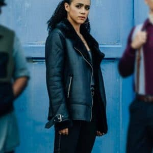 Nathalie Emmanuel Black Army of Thieves 2021 Leather Shearling Jacket