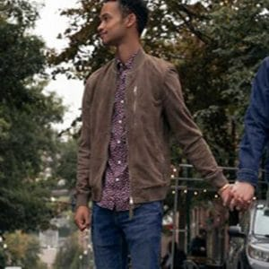 Marquis Rodriguez TV Series Modern Love S02 Bomber Suede Leather Jacket