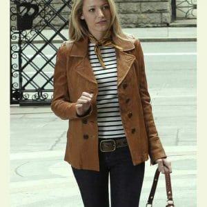 Gossip Girl Serena Brown Leather Jacket Blake Lively Leather Jacket