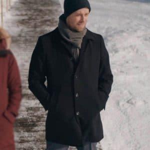 Luke Mitchell TV Series The Republic Of Sarah 2021 Black Mid-Length Coat