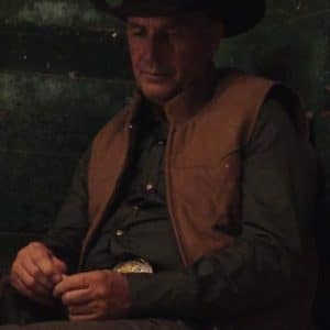 Kevin Costner Yellowstone S04 John Dutton Leather Quilted Vest