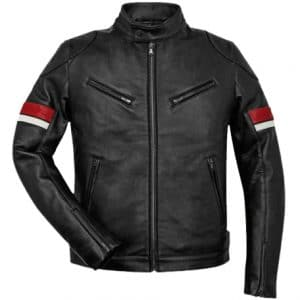 Red And White Striped Cafe Racer Men's Black Leather Jacket