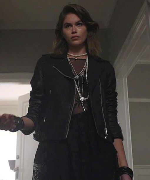 Kaia Gerber TV Series American Horror Stories 2021 Black Leather Jacket