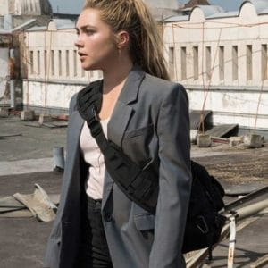 Florence Pugh Grey Black Widow 2021 Yelena Belova Cotton Blazer Jacket