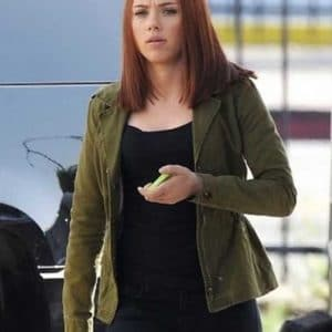 Scarlett Johansson Captain America The Winter Soldier Black Widow Green Cotton Jacket