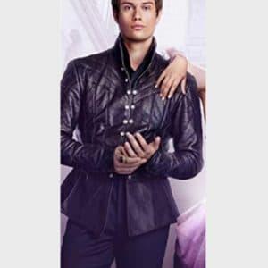 Nicholas Galitzine Cinderella 2021 Prince Robert Black Leather Jacket