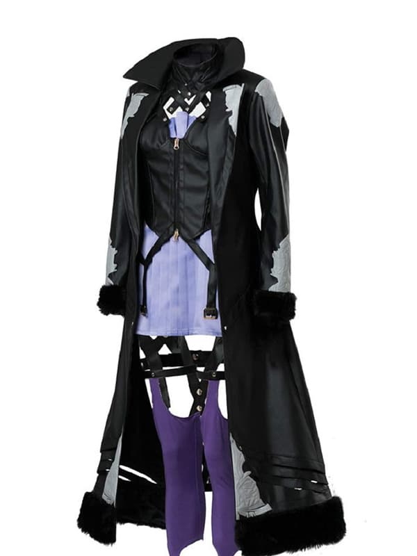 Video Game Code Vein Mia Karnstein Black Leather Trench Coat
