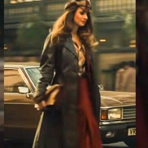Emily Beecham Cruella Catherine Miller Black Long Leather Coat
