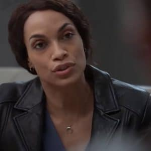 Rosario Dawson TV Series Dopesick 2021 Bridget Meyer Black Leather Jacket
