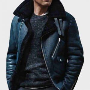 Blue Sheepskin Shearling B3 James Bond Leather Jacket