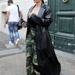 Long Black Kim Kardashian Leather Trench Coat