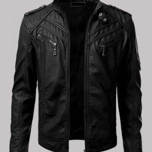 Black Men's Slim Fit Biker Leather Jacket