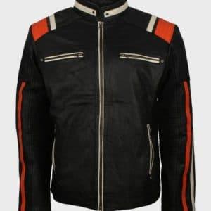 Cafe Racer Black Retro Mens Vintage Motorcycle Leather Jacket with Stripes