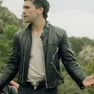 Jaime Lorente TV Series Money Heist Season 04 Black Biker Leather Jacket