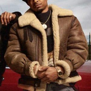 Malcolm M. Mays Power Book III Raising Kanan 2021 Brown Shearling Leather Jacket