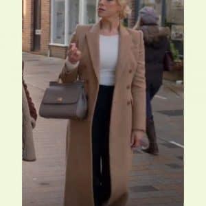 Hannah Waddingham Ted Lasso Brown Wool Rebecca Welton Coat