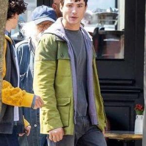 Ezra Miller The Flash 2022 Barry Allen Green Cotton Jacket