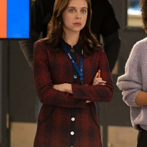 Bel Powley The Morning Show Claire Conway Plaid Coat