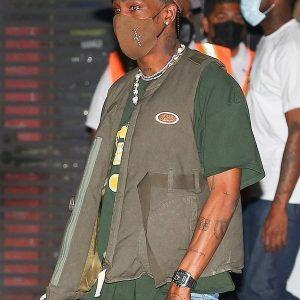 American Rapper Travis Scott Olive Green Cotton Vest for Sale