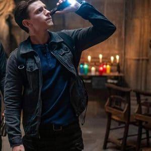 Tom Holland Uncharted 2022 Nathan Drake Black Denim Jacket